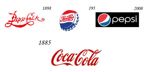 logo evolution - Pepsi vs coca cola