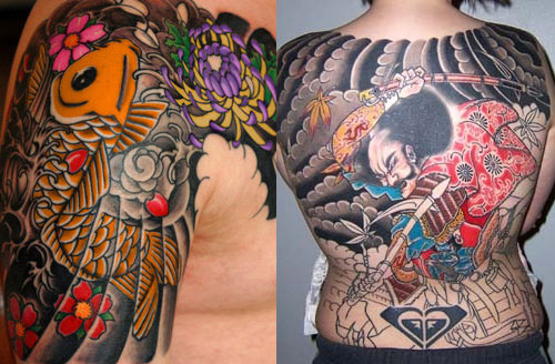 Japan traditional tattoo are usually on arms, shoulders and back.