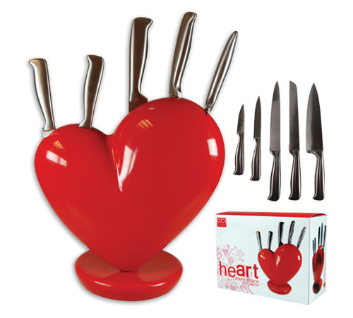 Heart knife block & knife set