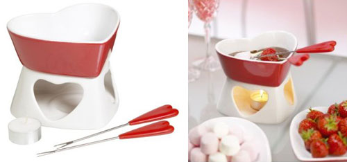 Kitchen Craft Heart Shaped Chocolate Fondue Gift Set with Two Matching Forks