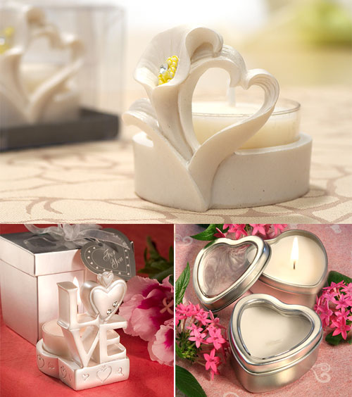 Heart-shaped candle holder and candle