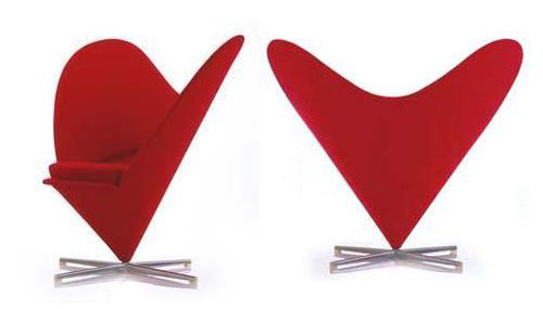Panton Heart Shaped Cone Chair