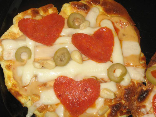 Oopsie Pizzas with small hearts in the pepperoni