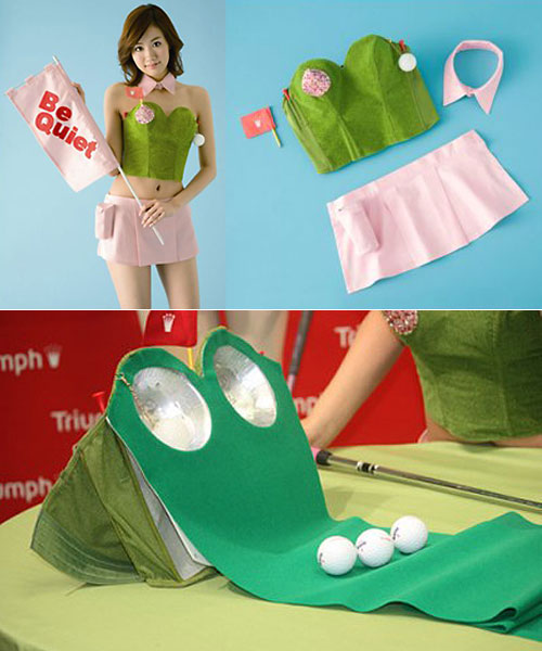 Bra doubles as a golf putting green