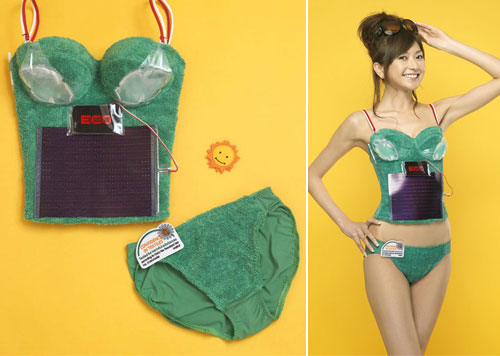 Solar-Powered Bra and also has a built-in beverage holder