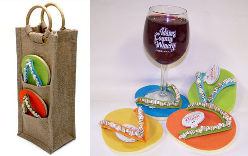 Seashell Flip Flop Coasters Deluxe w/ Wine Bag