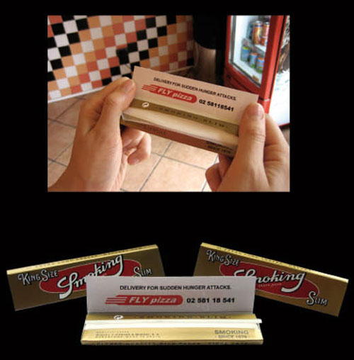 Business card which can roll up cigarettes - Fly Pizza's