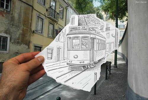 Pencil vs Camera, Drawing merge Photo
