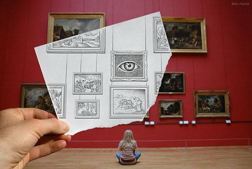 Pencil vs Camera, Drawing merge Photo