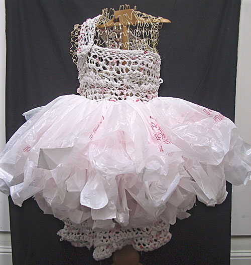 white trash/repurposed plastic bag dress