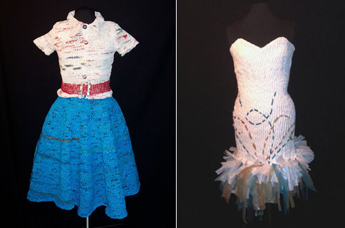 Plastic Grocery Bags into Knit 1950's Outift