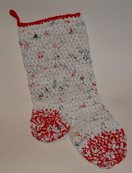 Crotcheted plastic Christmas Stocking