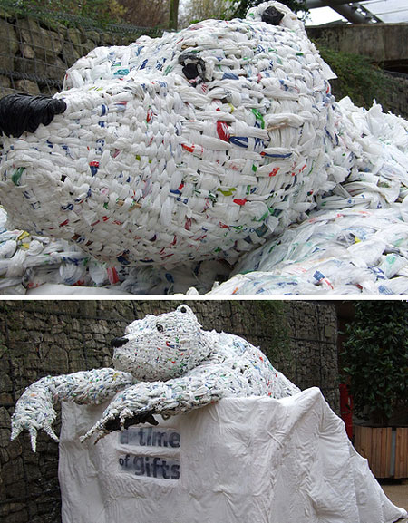 Plastic bag Bear Sculpture