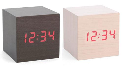 Kikkerland Clap-On Cube Wooden Alarm Clock