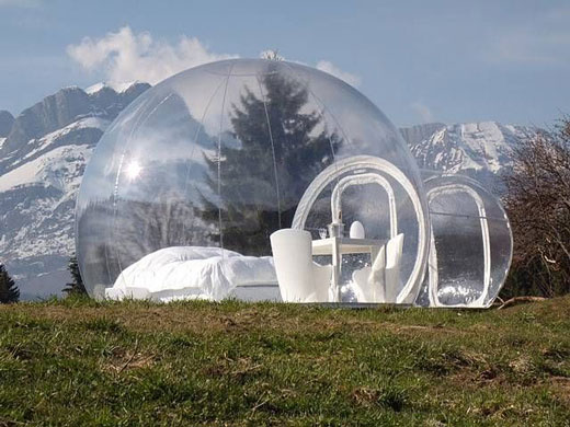 Bizarre Transparent Bubble Tent Hotel Design