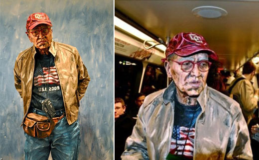 Real People Blended into Painting