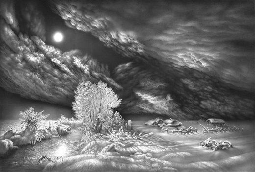 Incredible Pencil Drawing: Winter Scene by Guram Dolenjashvili