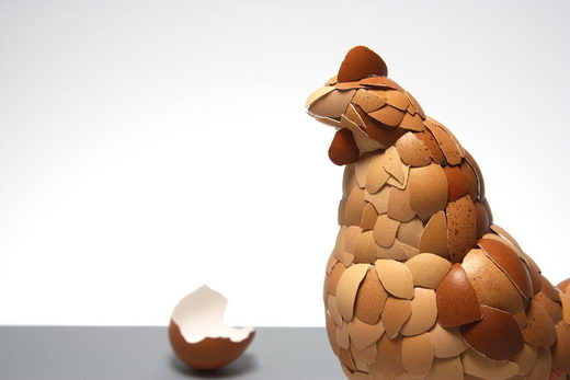 What Came First? Chicken Sculptures made from eggshells