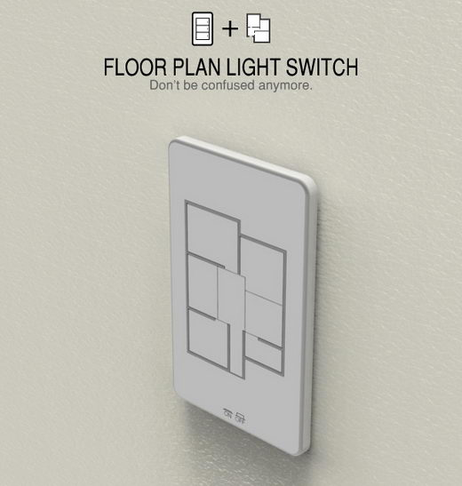 Clear Light Switch Plate, Shaped in Floor Plan