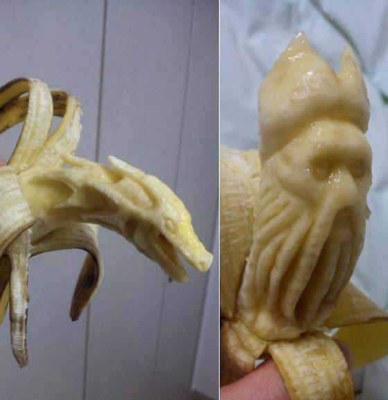 Interesting Banana Carving: Human face on Banana!