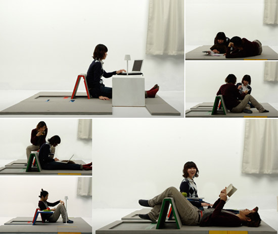 Land peel: A Multifuctional Floor Mat with Folding-Up Furniture