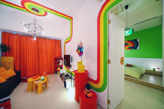 Unusual Rainbow Color Inspired Apartment Design