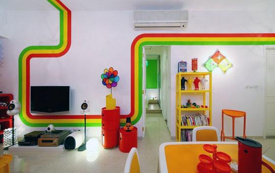 Unusual Rainbow Color Inspired Apartment Design