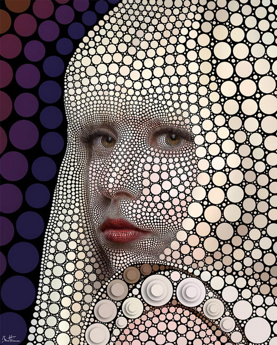 Digital Circlism: Impressive Celebrities Portraits by Ben Heine
