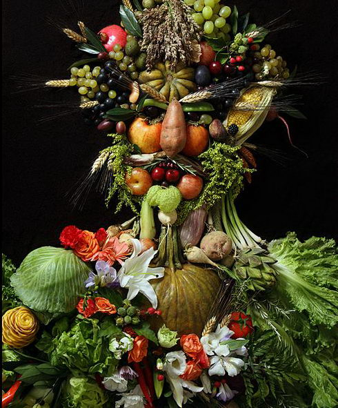 Creative Portraits Made of Food and Flowers