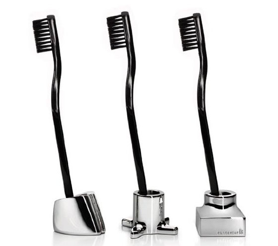 Kontextur VIKTOR Toothbrush and Razor Holders - real silver