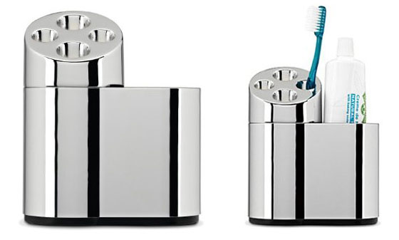 simplehuman chrome oval toothbrush holder with caddy