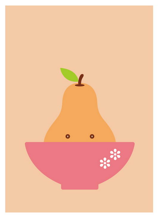 Cute Happy Pear Illustration from Yeoh Gh