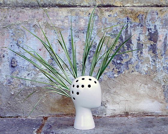 Ironic but Funny Wig Vase by Tania da Cruz