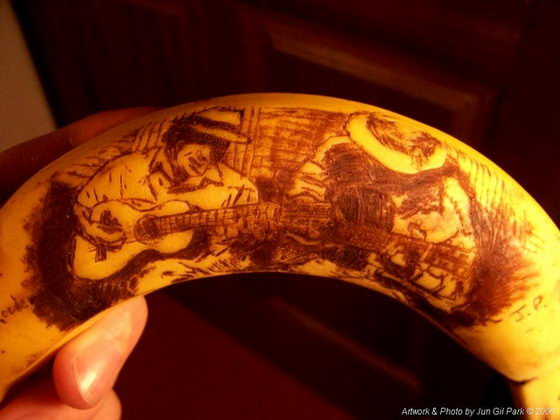 Stunning Drawing on Banana Skins