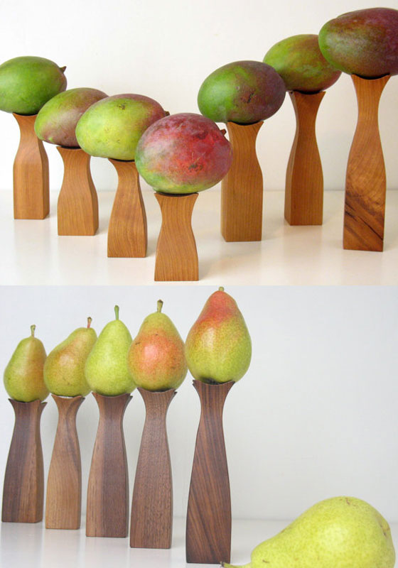 Cherry wood pedestals for fruits or vegetables