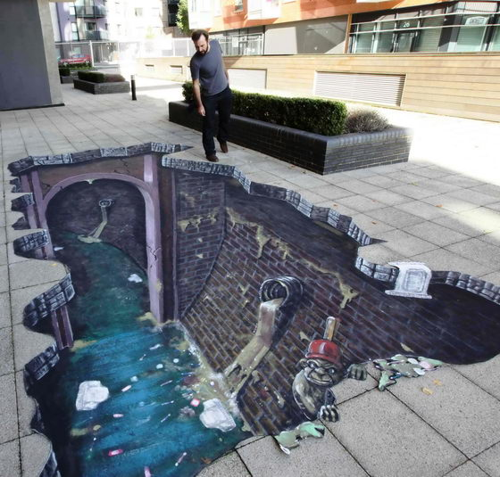 Optical Illusion: Dramatic 3D Pavement Art by Joe Hill