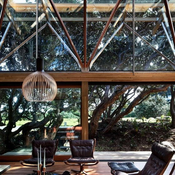 Beautiful Nature Surrounded Under Pohutukawa Beach House