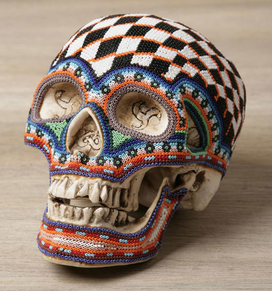 Stunning Colorful Hand Beaded Skulls Inspired by Huichol culture