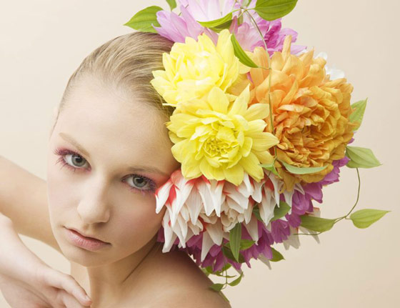 Unusual Hair Dressing Using Fresh Flowers and Vegetables