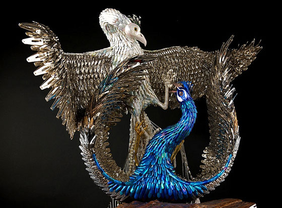 Stunning Peacock Sculptures made from Beauty Supplies