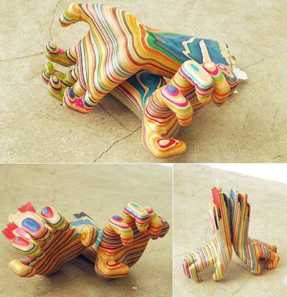 Amazingly Beautiful Wooden Sculpture Made of Used Skateboard