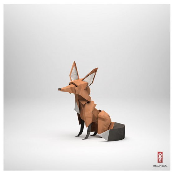 The paper fox - Digital Creation in Origami Style