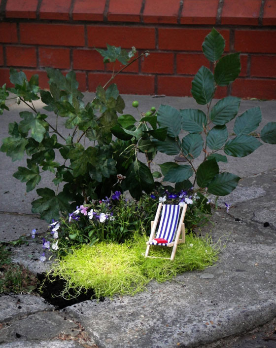 Miniature Pothole Garden on the Road