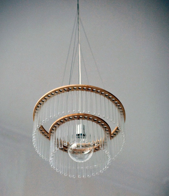 Beautiful and Unusual Glass Tube Chandelier