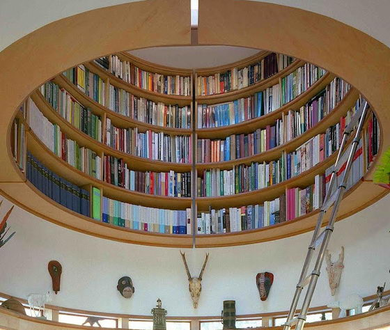 Unique Home Office With An Overhead Library Design Swan