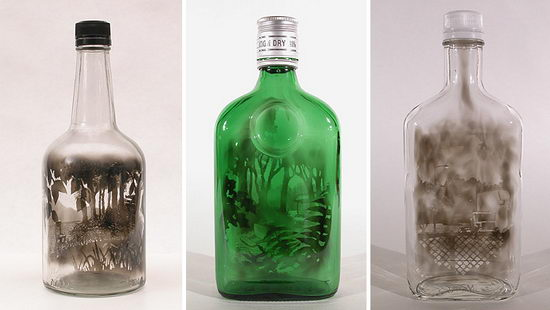 Incredible Smoke Painting Bottle by Jim Dingilian