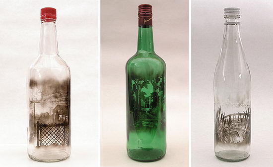 Incredible Smoke Painting Bottle by Jim Dingilian