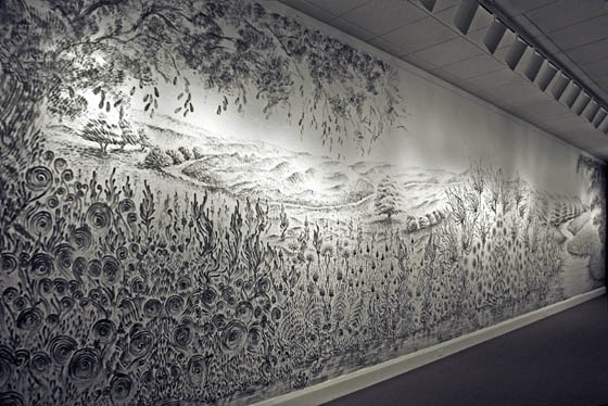 Spectacular Landscape Mural Drawn with Fingers Dipped in Charcoal