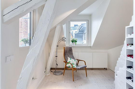Beautiful and Clever Design of Stockholm Attic Apartment