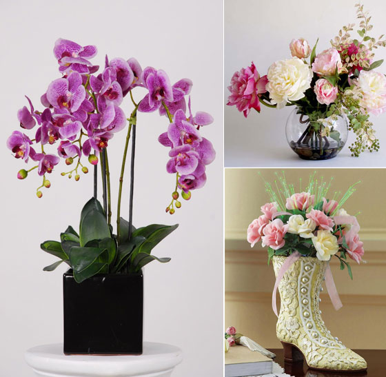 Beautiful artificial silk flowers arrangements for home for Artificial flowers decoration for home